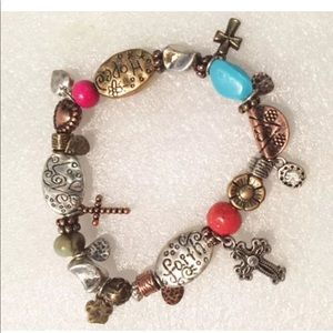 Faith Hope Love Bracelet Metal Stretch Bead Charm